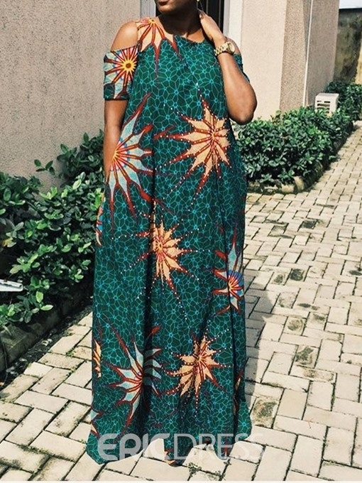 Ericdress African Fashion Short Sleeve Floor-Length Dress