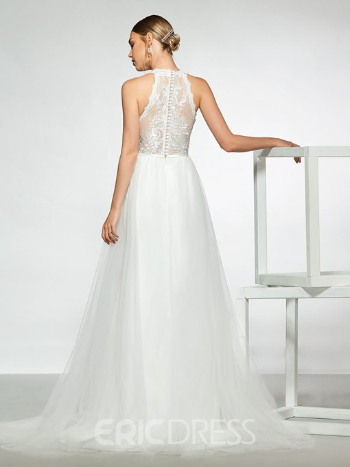 Ericdress Halter Split-Front Lace Wedding Dress