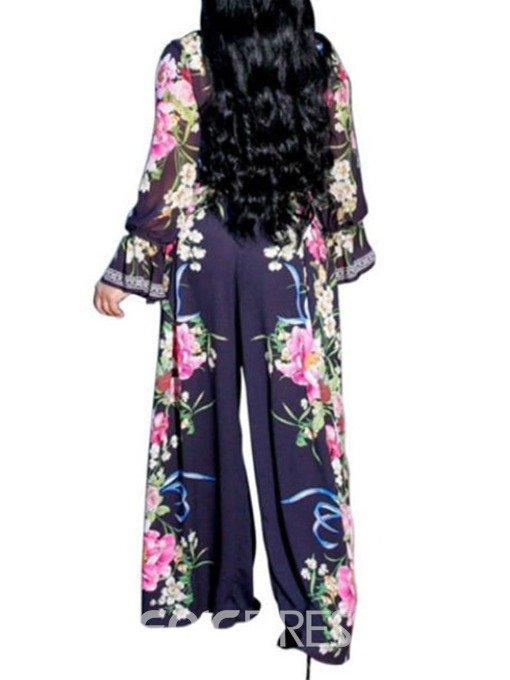 Ericdress Print Travel Look Pants Turtleneck Wide Legs Two Piece Sets