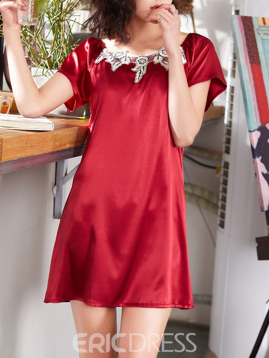 Ericdress Patchwork Raglan Sleeve Single Sexy Above Knee Nightgowns