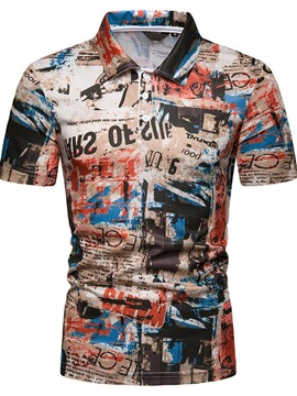 Ericdress Letter Print Mens Casual Polo Shirt