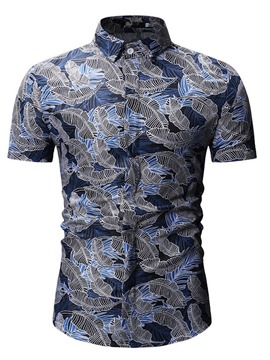 Ericdress Plant Printed Single-Breasted Mens Summer Shirt