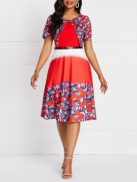 Ericdress Gradient OL Floral Print A-Line Pullover Dress