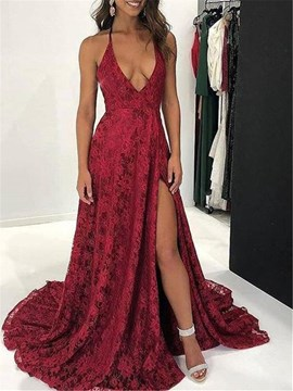 Ericdress A-Line Lace Halter Lace Evening Dress 2019