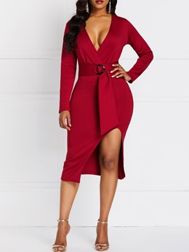 Ericdress Mid-Calf Long Sleeve Asymmetric Pullover Sexy Dress
