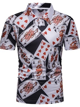 Ericdress Poker Printed Mens Casual Polo Shirt