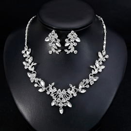 Gemmed Earrings Necklace European Jewelry Sets (Wedding)