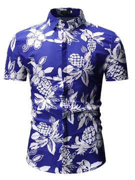 Ericdress Floral Printed Lapel Mens Casual Summer Shirt