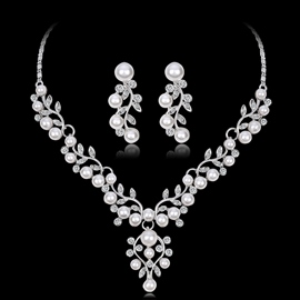European Floral Earrings Necklace Jewelry Sets (Wedding)
