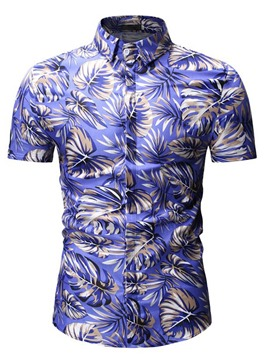 Ericdress Printed Button Up Mens Casual Summer Shirt