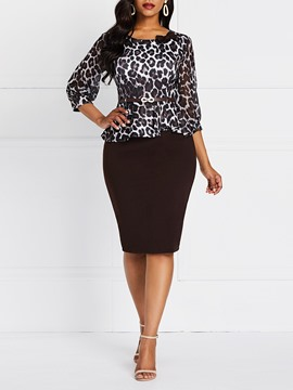 Ericdress Leopard Three-Quarter Sleeve Print Office Lady Bodycon Dress