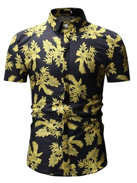 Ericdress Lapel Plant Printed Mens Casual Shorts Sleeve Shirt