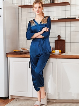 Ericdress Sexy Patchwork Polyester V-Neck Sleep Bottom Pajama Suit