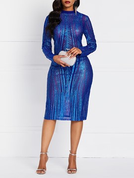 Ericdress Mid-Calf See-Through Long Sleeve Pullover Plain Dress