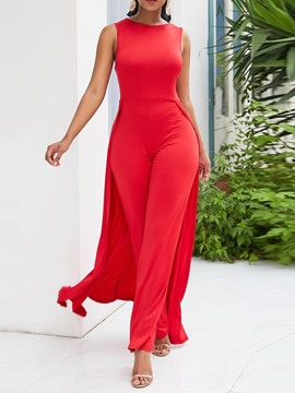 Ericdress Plain Full Length Casual High Waist Women's Slim Jumpsuit