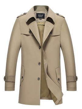 Ericdress Plain Mid-Length Lapel Mens Casual Trench Coat