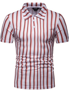 Ericdress Vertical Striped Mens Printed Polo Shirt