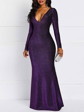 Ericdress Lurex Floor-Length V-Neck Long Sleeve Bodycon Pullover Dress