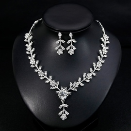 European Gemmed Necklace Jewelry Sets (Wedding)