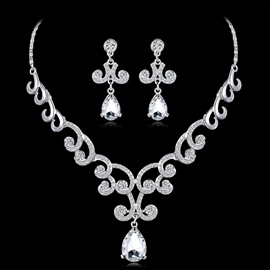 Gemmed Earrings Floral Jewelry Sets (Wedding)