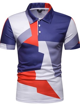 T-shirts ericdress patchwork couleur bloc mens polo