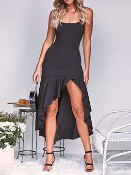 Ericdress Black Dress Sleeveless Stringy Selvedge Ankle-Length Plain Summer Dress