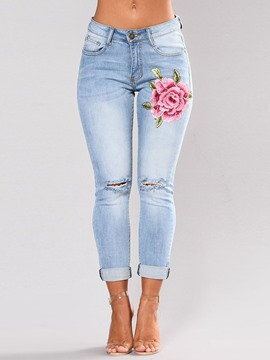 Ericdress Embroidery Floral Hole Slim Revers Jeans