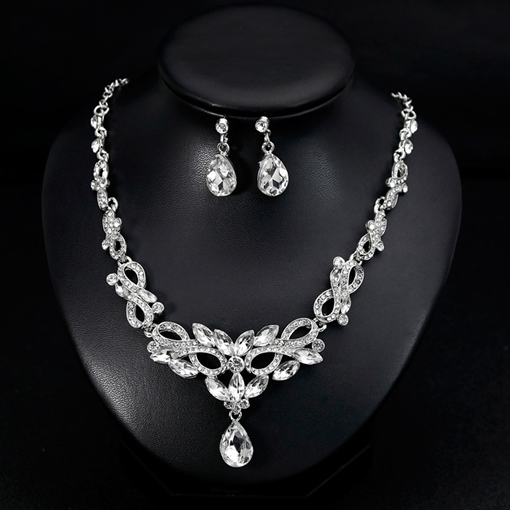 Rhinestone Necklace Floral European Jewelry Sets (Wedding)