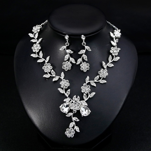 Gemmed Earrings Necklace Leaf Jewelry Sets (Wedding)