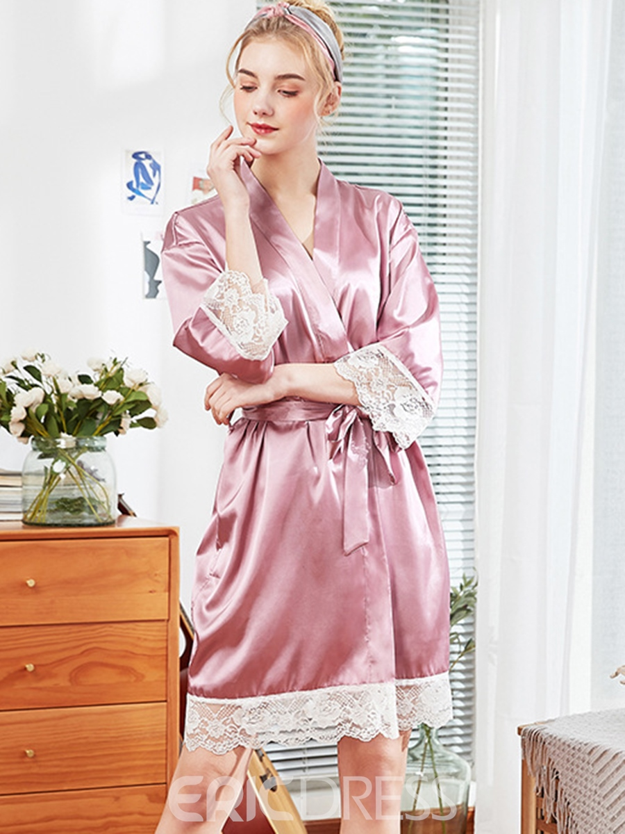 Ericdress Lace Bowknot Sweet Half Sleeve Sexy Night-Robes