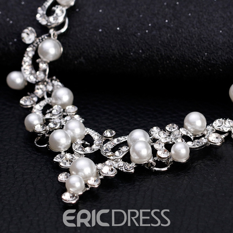Floral Necklace European Pearl Jewelry Sets (Wedding)