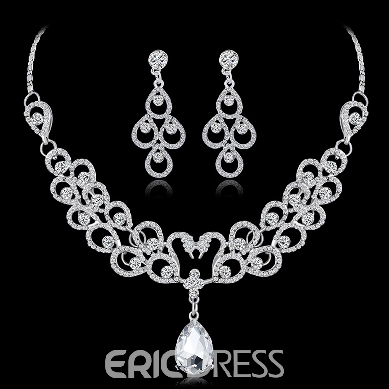 Rhinestone Necklace Floral Jewelry Sets (Wedding)