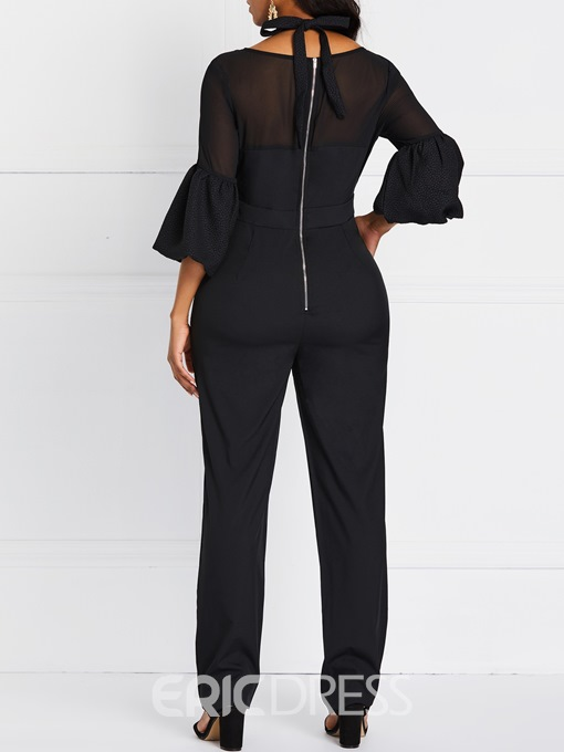 Ericdress Plain Patchwork Date Night See-Through Halter Jumpsuit