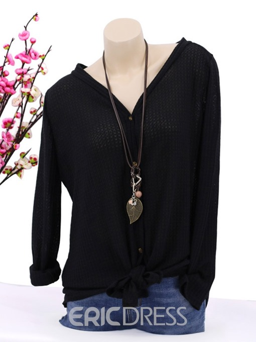 Ericdress Mid-Length Long Sleeve Casual V-Neck Blouse