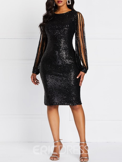 Ericdress Plain Sequins Cocktail Standard-Waist Sexy Dress