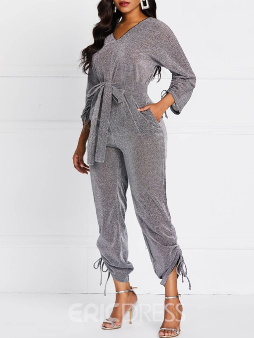 Ericdress Lurex Lace-Up Plain Casual High WaistJumpsuit
