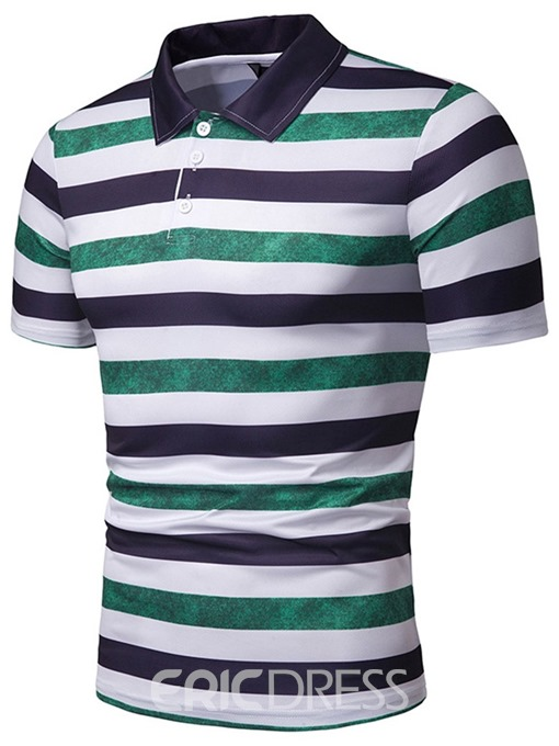 Ericdress Casual Mens Stripe Polo Shirt