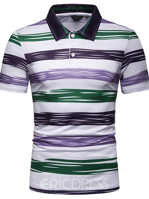 Ericdress Striped Mens Casual Polo Shirts