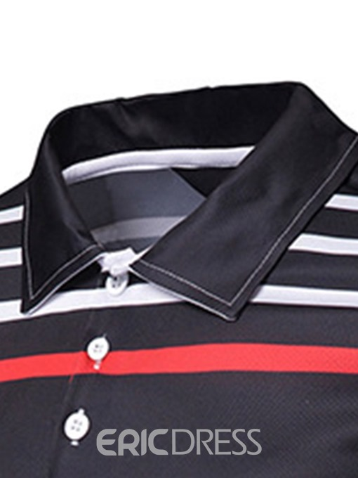 Ericdress Striped Short Sleeve Mens Casual Polo Shirt