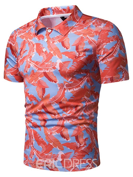 Ericdress Plant Printed Mens Casual Polo Shirt