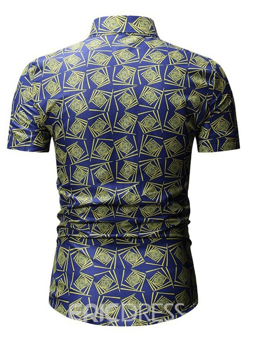 Ericdress Geometric Print Lapel Mens Casual Summer Shirt