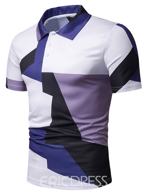 Ericdress Patchwork Color Block Mens Polo T-Shirts