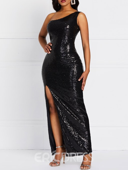 Ericdress Sequins Split Oblique Collar Sexy Plain Dress