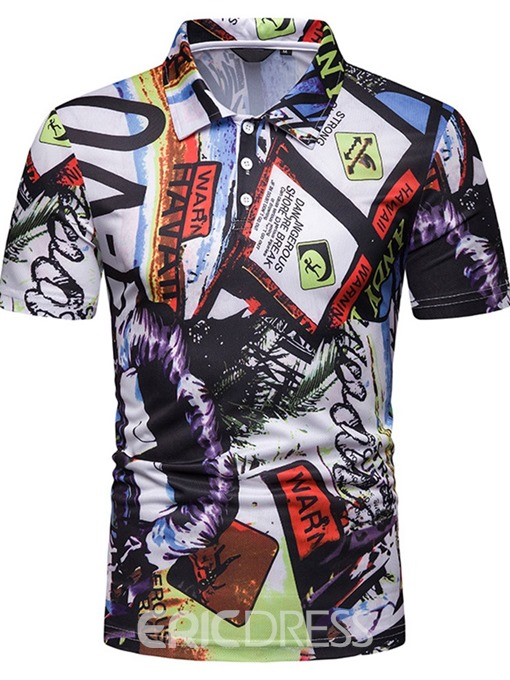 Ericdress Letter Printed Mens Casual Polo Shirt