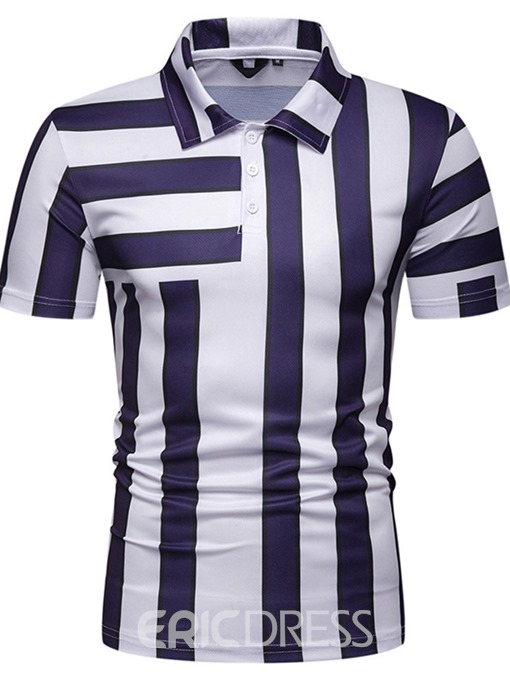 Ericdress Casual Stripe Mens Print Polo Shirt