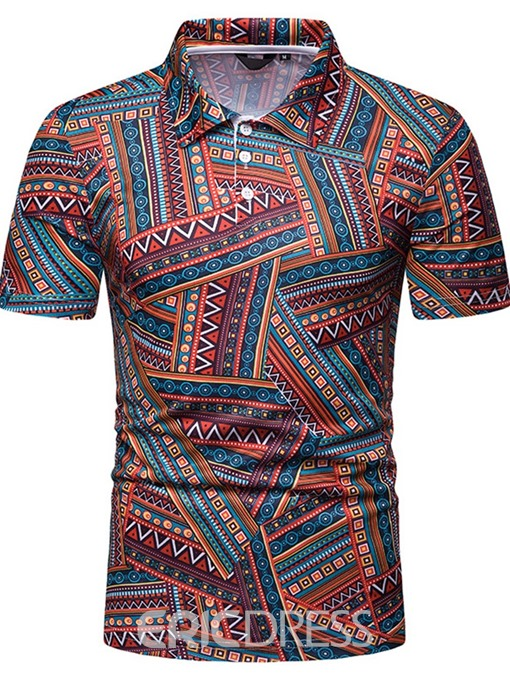 Ericdress Geometric Print Short Sleeve Mens Polo Shirt
