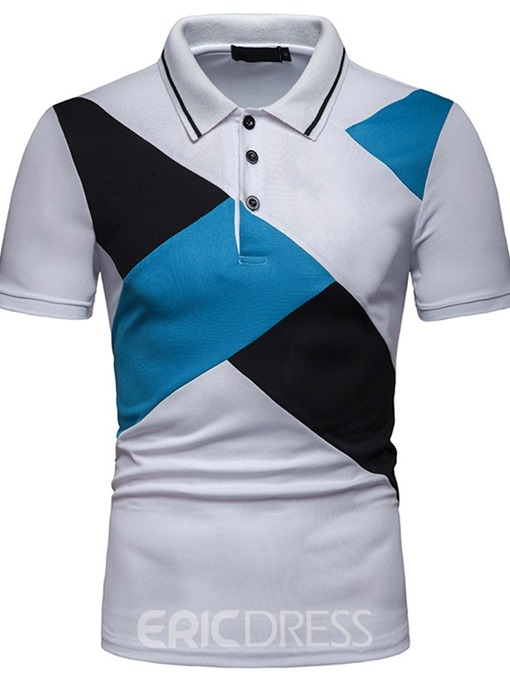 Ericdress Color Block Patchwork Mens Short Sleeve Polo Shirt