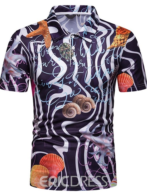 Ericdress Shell Print Mens Casual Polo Shirt