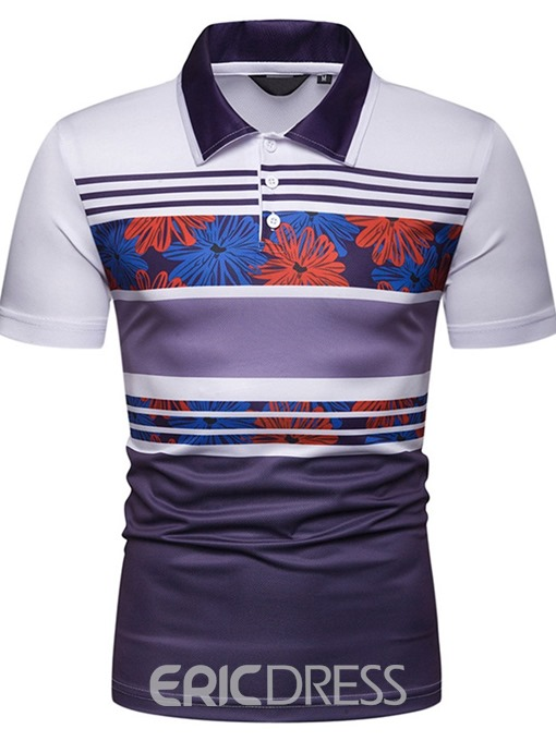 Ericdress Striped Print Mens Casual Polo Shirt