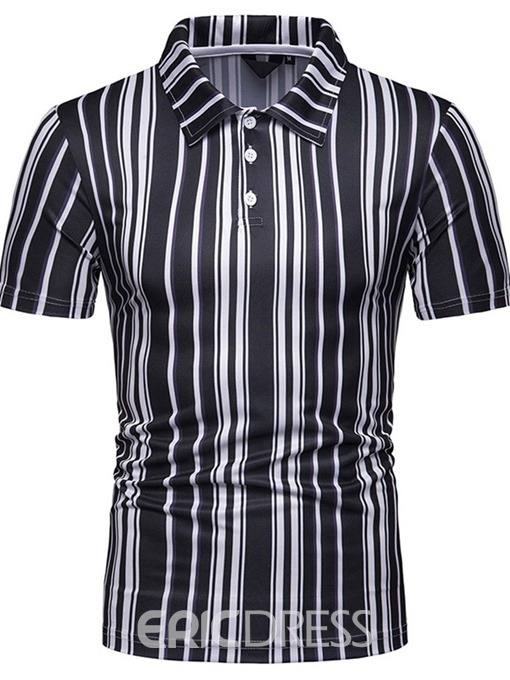 Ericdress Casual Stripe Mens Polo Shirt